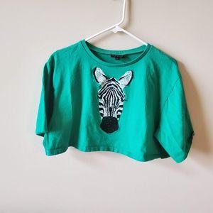 Topshop Zebra Cropped Tee  Size 10  Green